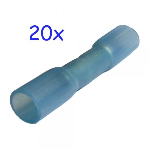 20 Stossverbinder blau schrumpfbar, mit Heißkleber gefüllt