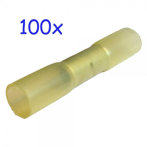 100 Stossverbinder gelb schrumpfbar, mit Heißkleber gefüllt